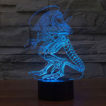 FREE SHIPPING T-touch 7 colorful Alien Movie decoration 3D led night lgiht of luminaria 3d led lamp for baby sleep