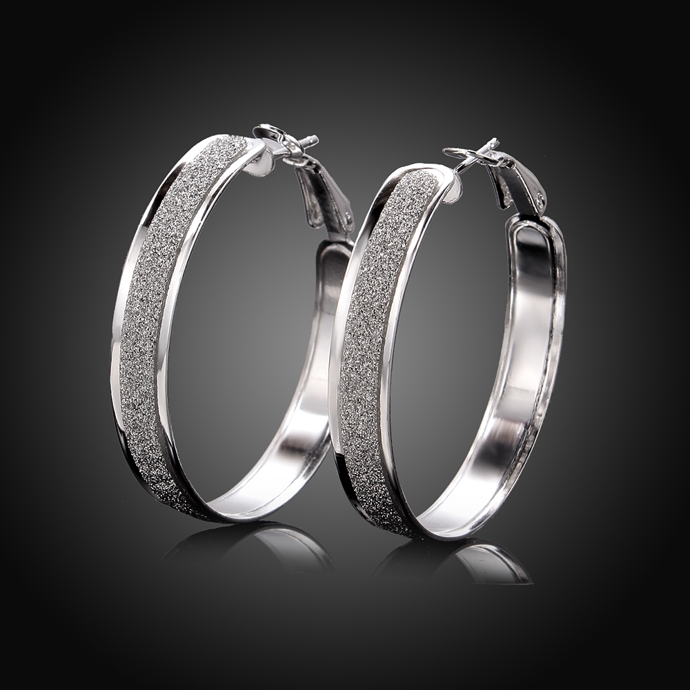 Women's Fashion Brand charm Earrings Jewelry 925 pure silver plated Thick frosted round hoop earrings Brincos de Prata