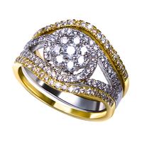 Fashion Jewerly 3 Pcs Set Rings Real Gold Plated With Cubic Zircon Finger Ring High Quality