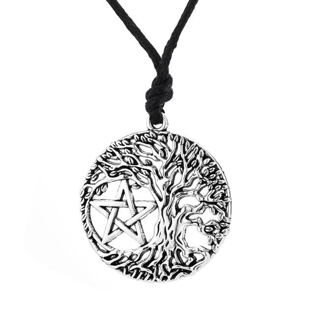 Árbol de la Vida de Yggdrasil Dawapara Portugal Colgante Wicca pagan Pentagram Del Pentáculo de La Vendimia Accesorios Collar Macho Collar de Las Mujeres