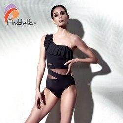 Andzhelika, сексуальный цельный купальник, женская одежда для плавания, на одно плечо, одежда для плавания, с оборками, сетчатые боди, пляжный куп... 3