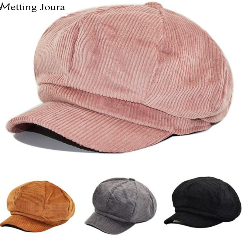 metting joura Women Man Winter Corduroy  newsboy Cap Retro Baseball Cap snapback cap Leisure hat accessories women cap skullies