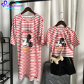 Red/Black Striped Mickey Family Mouse Dress Mother And Daughter Short Sleeve Mother Daughter Matching Clothes 2017 Family Outfit