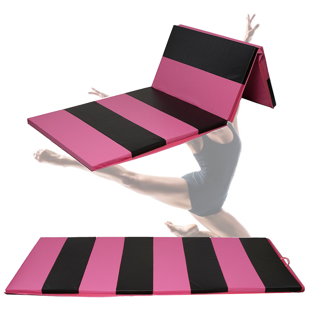 10FT Protable Folding Gymnastics Tumble Mat Yoga Exercise Fitness Pilates Gym Black Pink Stripe canvas elephant yoga mat bag large capacity gym bag sports handbag fitness dance gymnastics pilates athletes exercise mat bags