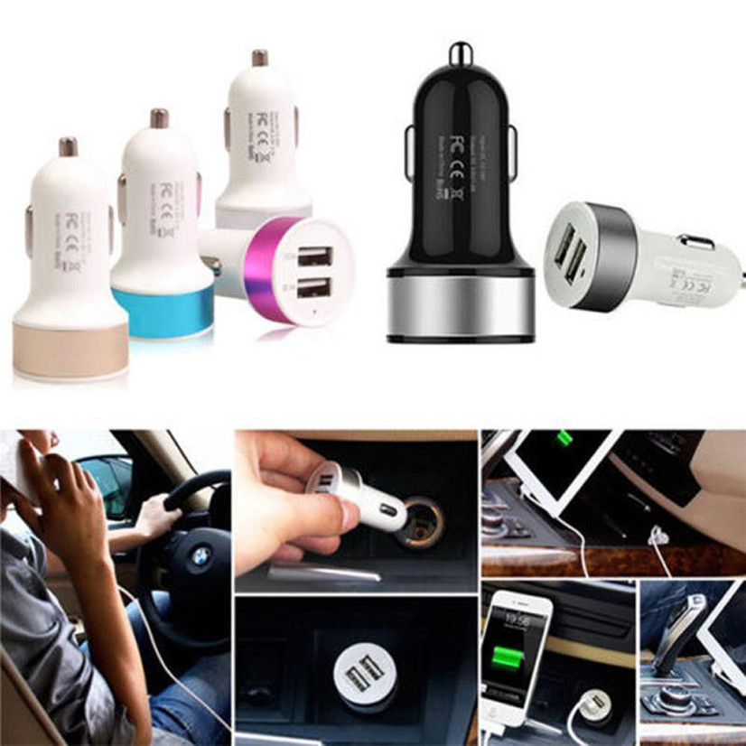 Factory Price Hot Selling Mini 2 Port Mini Dual USB Car Charger Adapter For IPhone Samsung Universal Use Drop Shipping