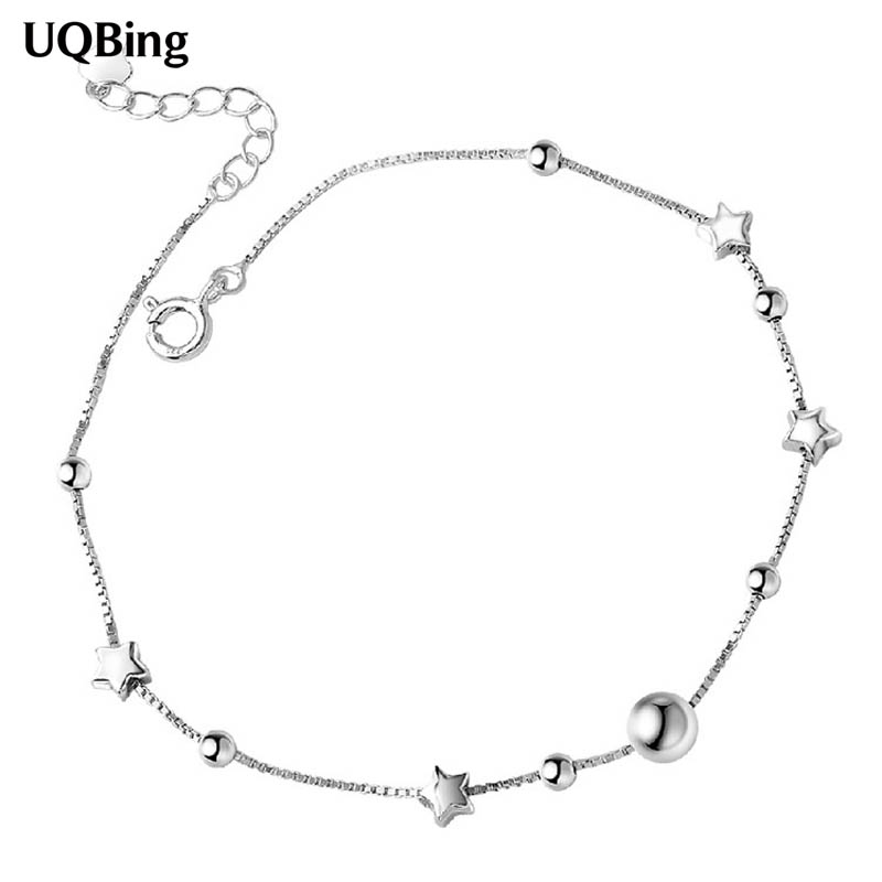 Drop Shipping Pure 925 Sterling Silver Moon Star Anklets Foot Summer Jewelry
