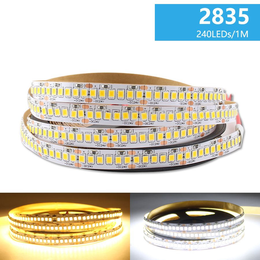 DC 24 V LED Tape Strip Light Warm White SMD 2835 LED Strip Light DC 24V 5M 120Led/m 240Led/m 2835 Rope Ledstrip Home Decoration