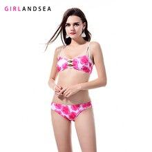 GIRLANDSEA New 2019 Low-waisted Bikini Set Printed Swimsuit  Bikinis Women Swimwear