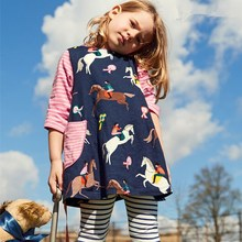 Cotton Long Sleeve Casual Cartoon Cartoon animal horse Striped  Dresses Clothes for 18 Months - 6 Years Toddler Girls Kids