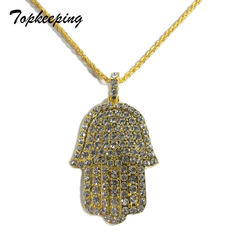 Mens Fashion Jewelry Luxury Micro Pave Bling Cubic Zirconia Fatima Hand Hamsa Pendant Iced Out Cool Trendy Boys Hip Hop Necklace
