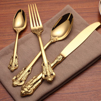 24k rose gold cutlery Luxury 304 stainless steel cutlery set retro rose carved golden knife and fork spoon set
