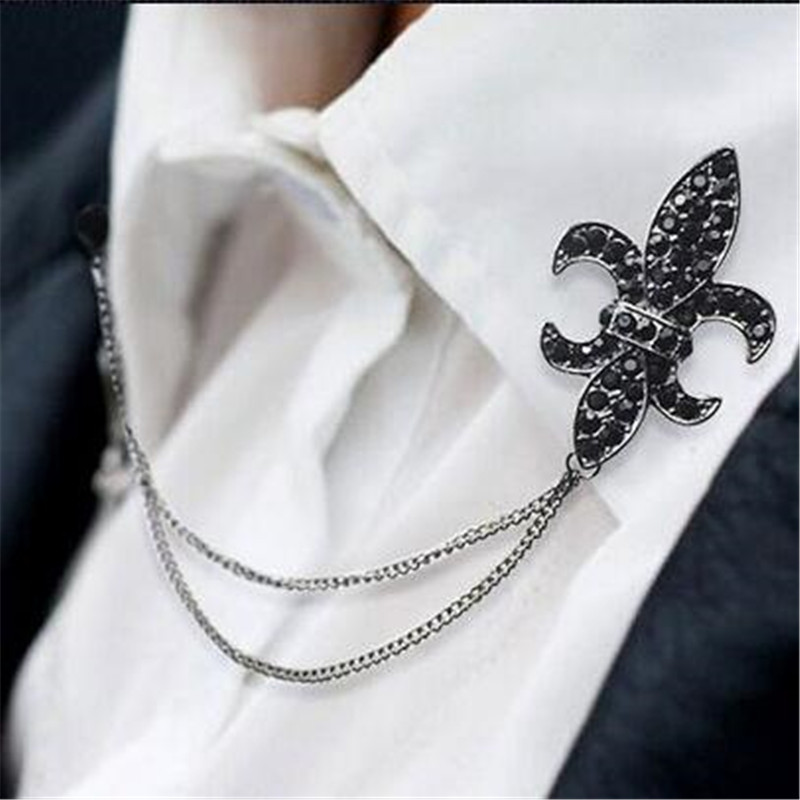 Zbrusu nové slitiny Vintage Breastpin brože módní límec tipy starožitné tón řetízek kabát brož brož klopa pin muži šperky