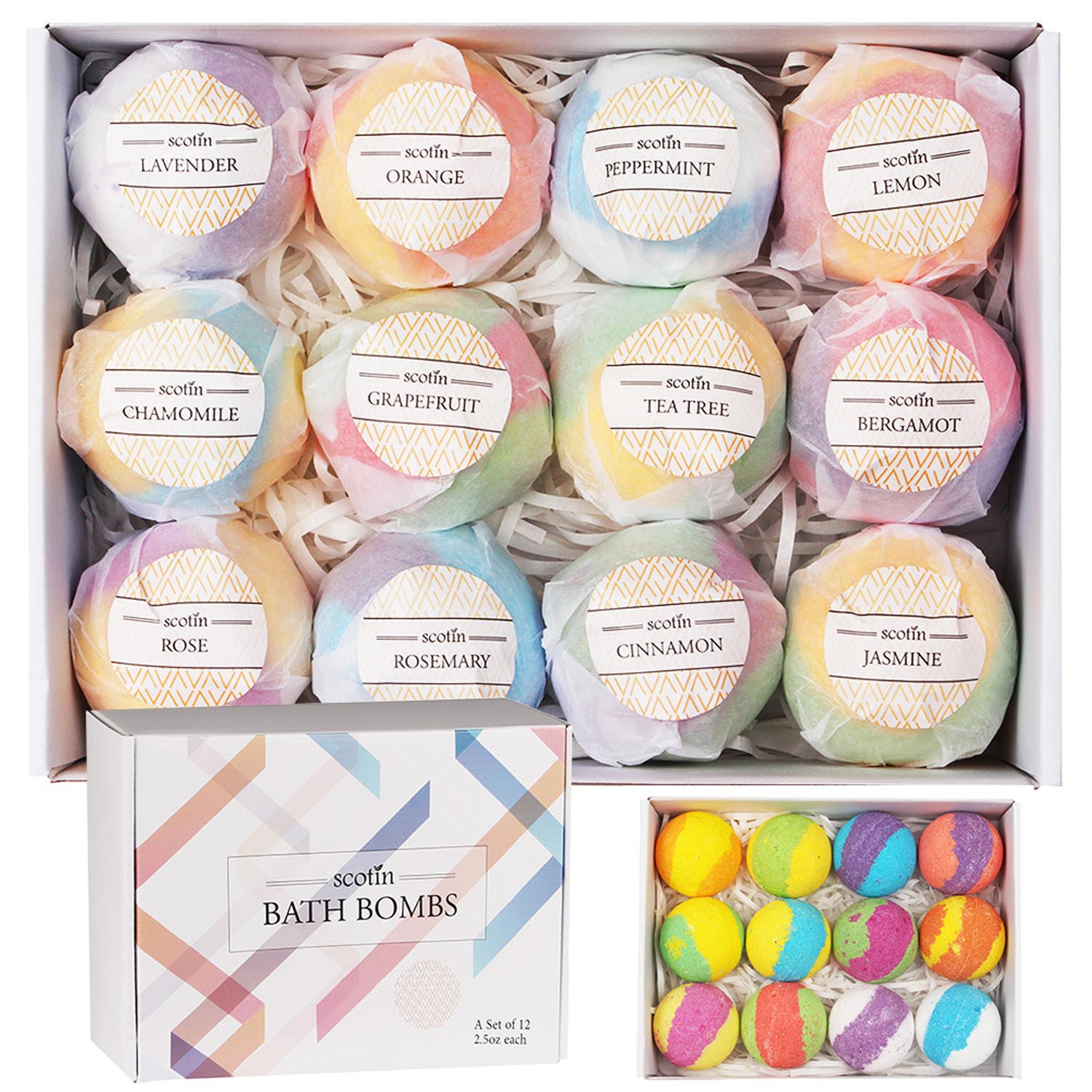 12 Pcs Natural Spa Essential Oil Bath Bombs Ball Set for Girlfriends Women Moms Christmas Birthday New Year Gifts Salt Bath Ball