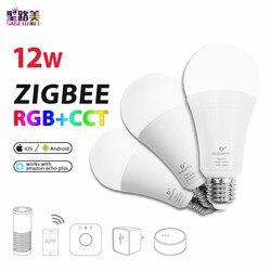ZIGBEE E27 12W RGB + CCT żarówka LED AC96 - 265V RGB i podwójna biała i kolorowa lampa LED z możliwością ściemniania żarówka RGBW RGBWW praca alexa phone