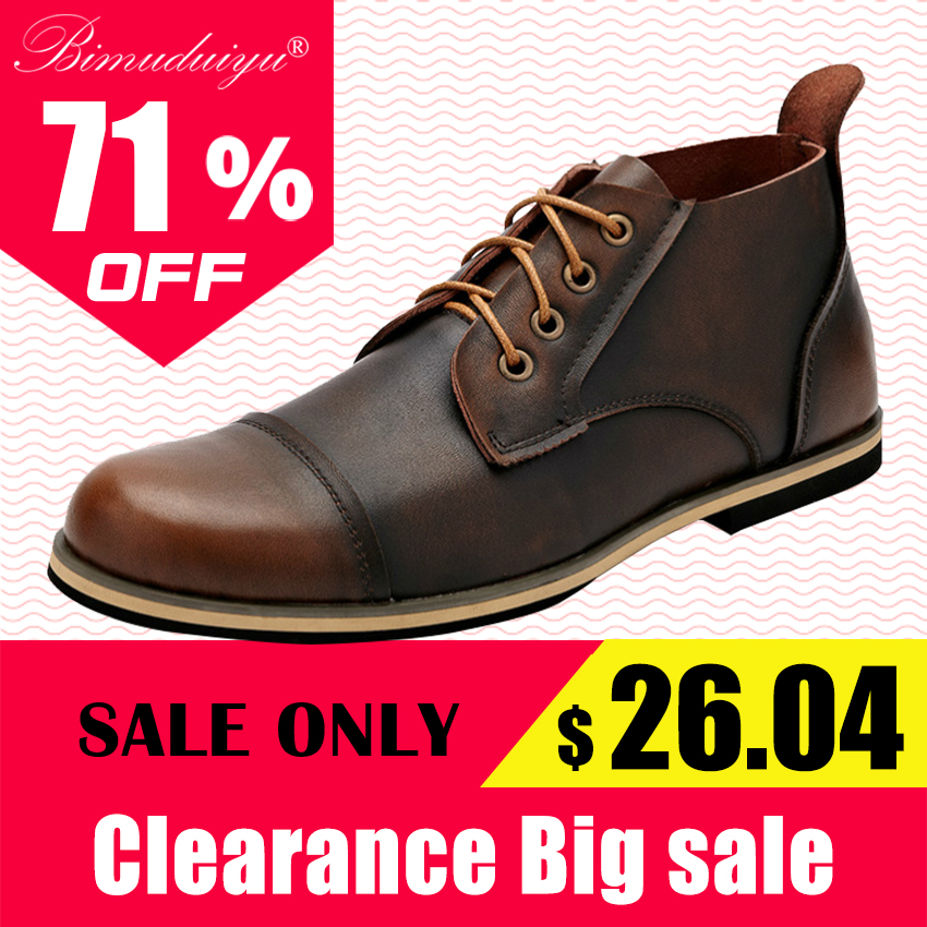 BIMUDUIYU Autumn Winter Handmade Genuine Leather Men Boots High Quality Plus Size Winter Shoes Lace Up Ankle Boots For Men 38-47