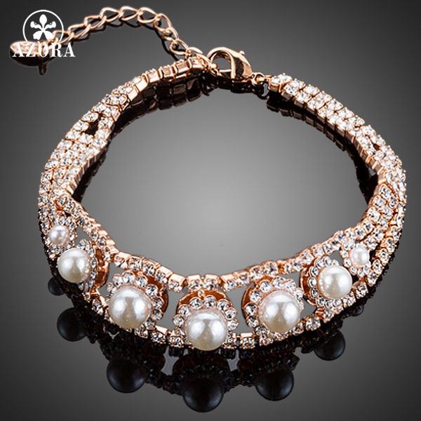 AZORA Gorgeous Rose Gold Color Top AAA Micro CZ Paved With 7pcs Pearl Bracelet for Women TS0123