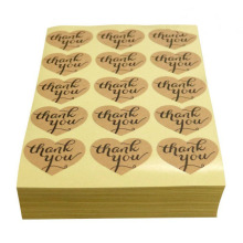 150PCS Thank You Sticker Labels Heart Shape Kraft Paper for Wedding Party Decoration, DIY Gift Card Scrapbook