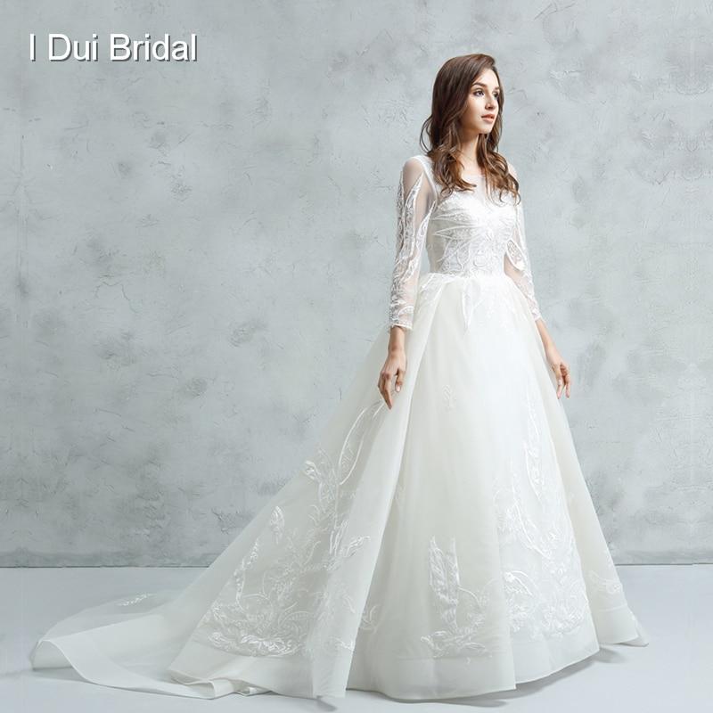 Wedding Gown Necklines: Aliexpress.com : Buy 2018 New Long Sleeve Wedding Dress