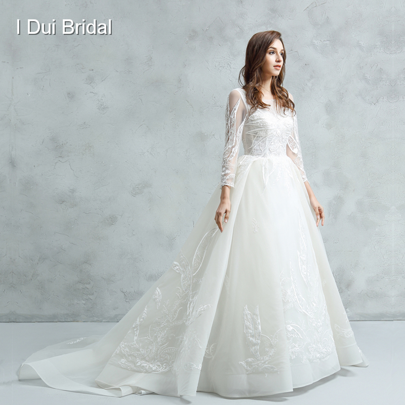 Illusion Neckline Wedding Gown: New Long Sleeve Wedding Dress Illusion Neckline Ball Gown