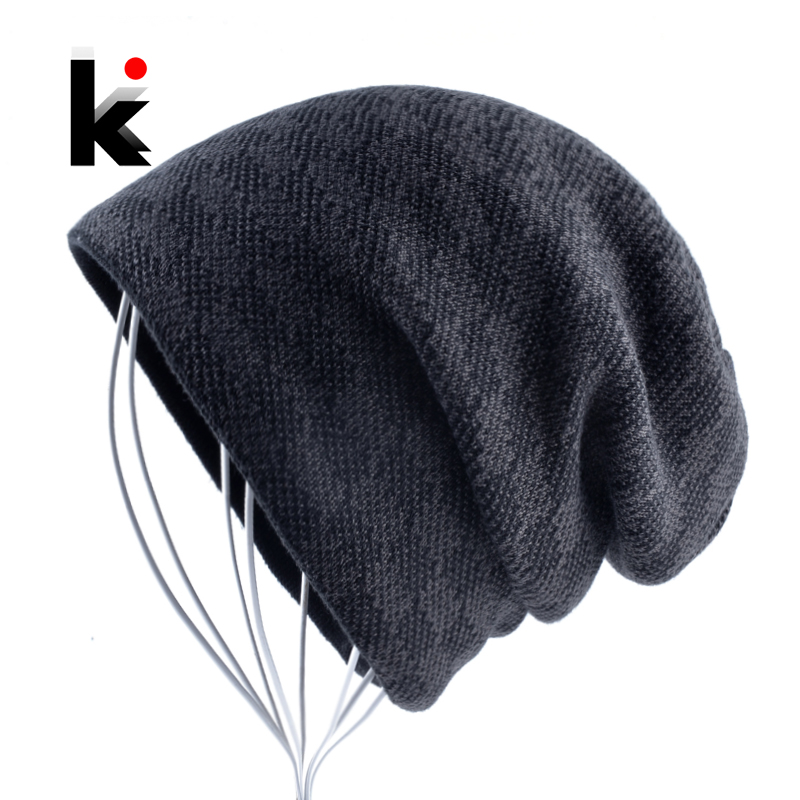 Winter Hats For Men Fashion Mixed Color Knitted   Beanies   Bonnet Outdoor Warm Knitting Men's Double Layer Add Vevet   Skullies   Cap