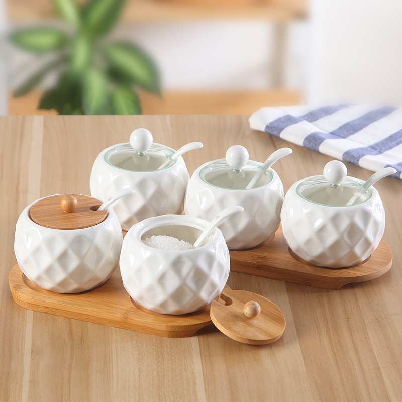 Houmaid kitchen accessories white ceramic spice jars set with bamboo rack/holder,porcelain storage bottles with lid and spoon