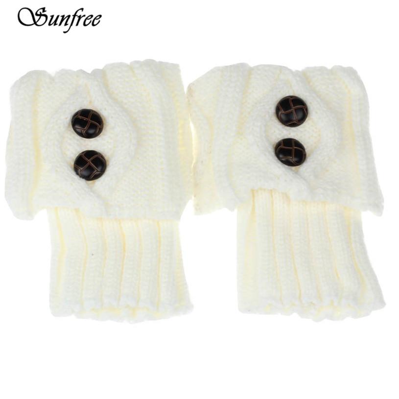 Sunfree 2016 New Design Women Winter Leg Warmer Button Crochet Knit Boot Socks Toppers Cuffs Brand New and High Quality Nov 9