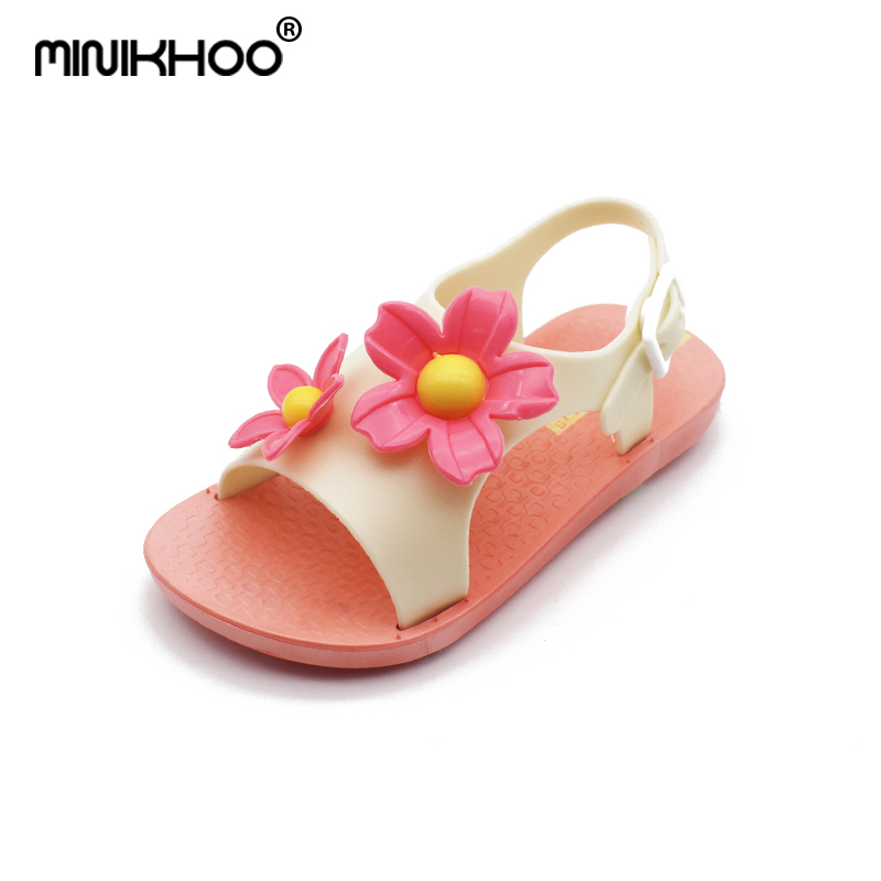 Mini Melissa Flower Pattern Girls Jelly Sandals 2018 New Girls Shoes Melissa Breathable Melissa Toddler Sandals 15cm-17.5cm