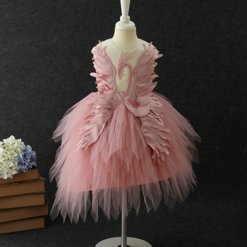 2019 New Swan Ball Party Dress Yarn Dress Girl's Wedding Performance Costume Swan Design Dress Princess Birthday Party.