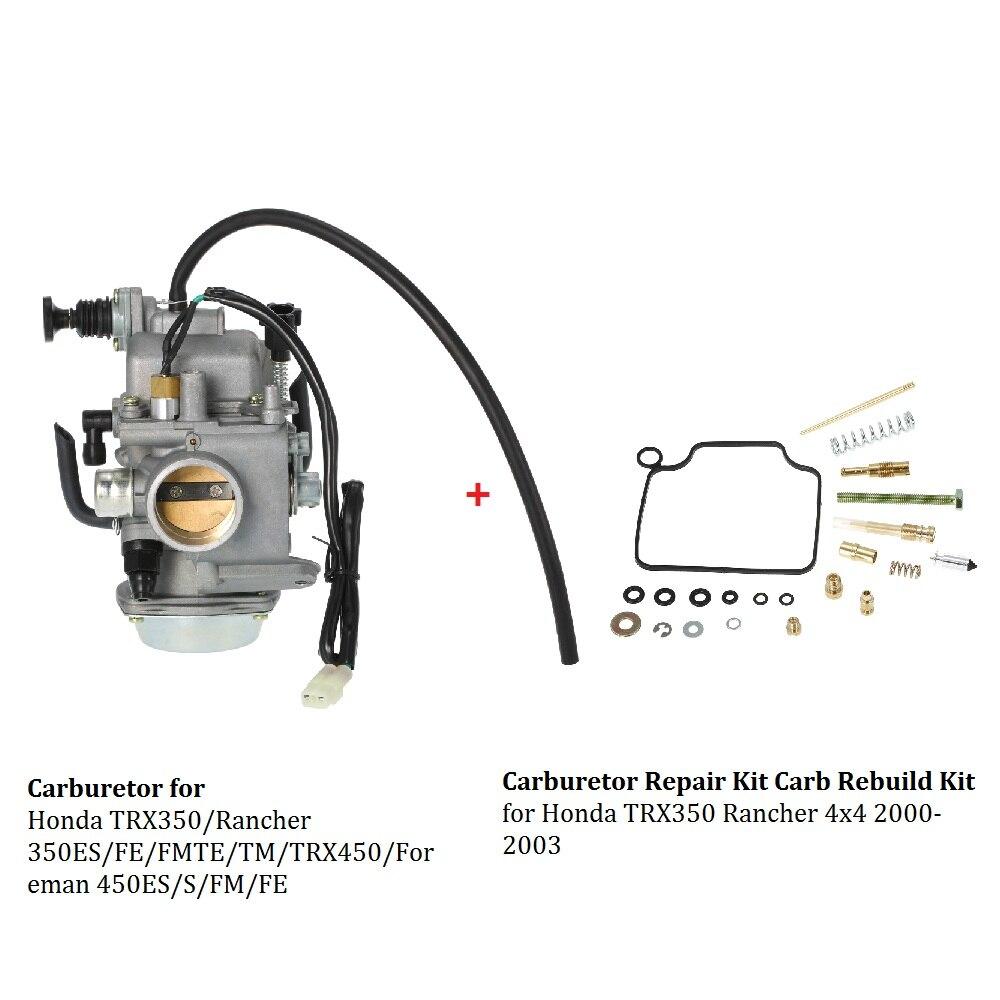 Carburetor for Honda TRX350/Rancher 350ES/FE/FMTE/TM/TRX450/Foreman and  Carburetor Repair Kit Carb Rebuild Kit for Honda TRX350-in Carburetor from