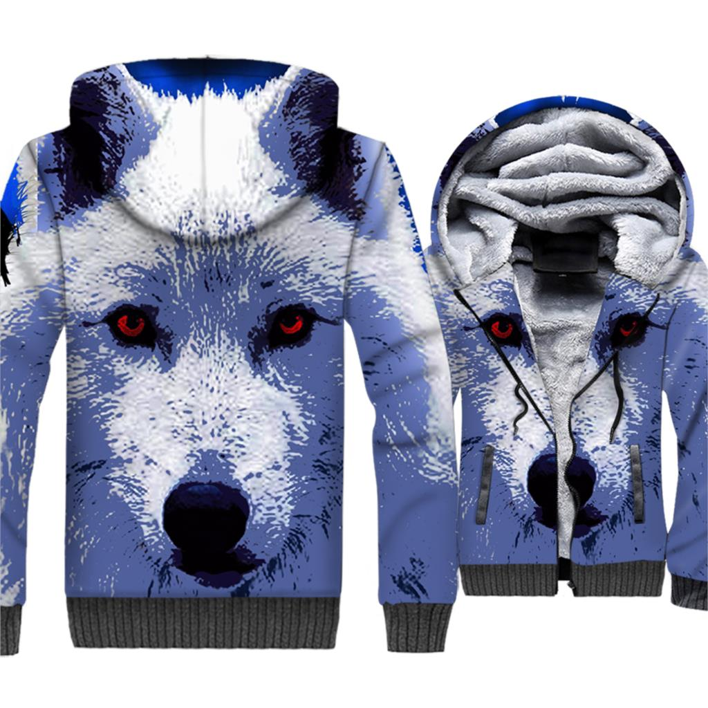 Wolf 3D Print Hoodie Men Sweatshirt Winter Thick Fleece Warm Zipper Coat Jacket Animal Sportswear Cool Streetwear Brand Clothing