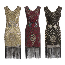 1920s Great Gatsby Latin Dance Dresses Flapper V Neck Beaded Sequins Party  Dress Fringe Tassel Women