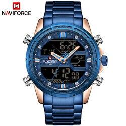 NAVIFORCE luksusowa marka mężczyźni zegarki sportowe męska kwarcowy LED cyfrowy zegar wojskowy zegarek na rękę ze stali nierdzewnej Relogio Masculino w Zegarki kwarcowe od Zegarki na