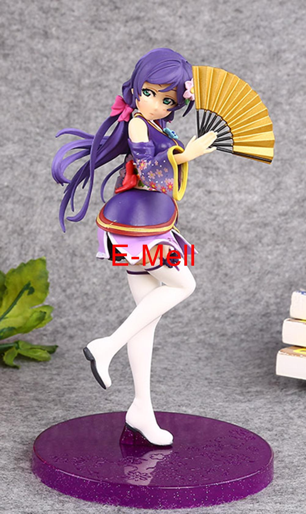 17cm/6.7'' Q Version Cosplay LoveLive Love Live Tojo Nozomi Garage Kit PVC Action Figures Toys GK folding fan Model vogue long with double braided love live tojo nozomi awake cheongsam fairytale style cosplay wig