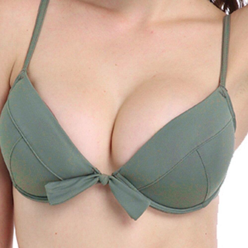 Womail 2018 Green Swiming Suit Sexy Solid Bikini Strips Bandage Swimwear Push Up Padded Bra Beachwear Women Bikini Top #N1802