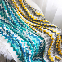 Prismatic Stripe Knitting Blanket Sofa Cover Decoration Carpet Cover Tailstock Yellow Blue Blanket
