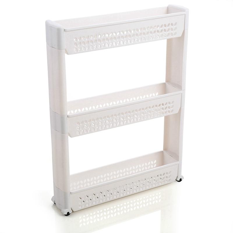 ABLA 1/Pc Gap Storage Shelf Kitchen Storage Rack Shelf Slim Slide Tower Movable Assemble Plastic Bathroom Shelf Wheels Space 3