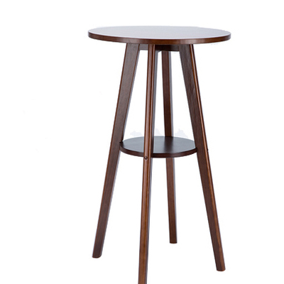 European style simple solid wood small bar table coffee small household round bar table living room high foot small bar table toughened glass bars table fashion household coffee bar table