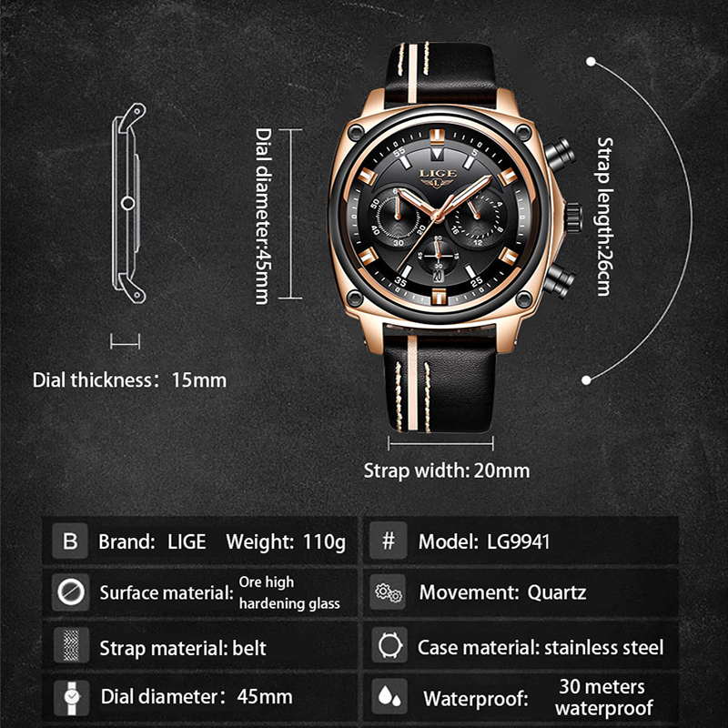 LIGE New Mens Watches Top Brand Luxury Chronograph Men Watch Leather Luxury Waterproof Sport Watch Men Male Clock Man Wristwatch in Quartz Watches from Watches