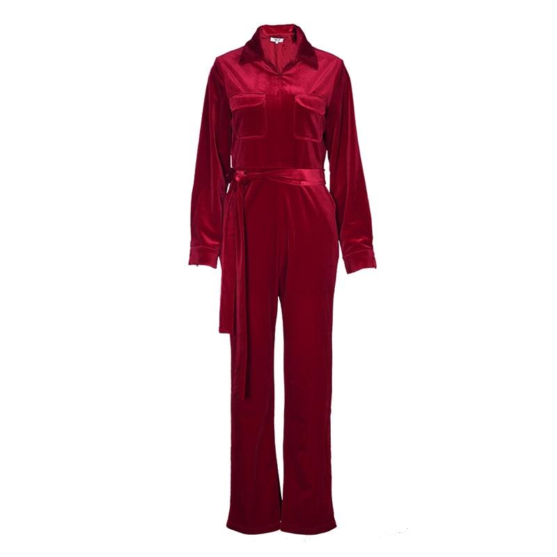 De Longues rouge Velours Taille Bleu Femmes Large Haute Vintage2019 Mince Poche Pantalon Femelle Jambe Combinaisons Mode Ceinture Manches À Pour Élégant wzzrXRx
