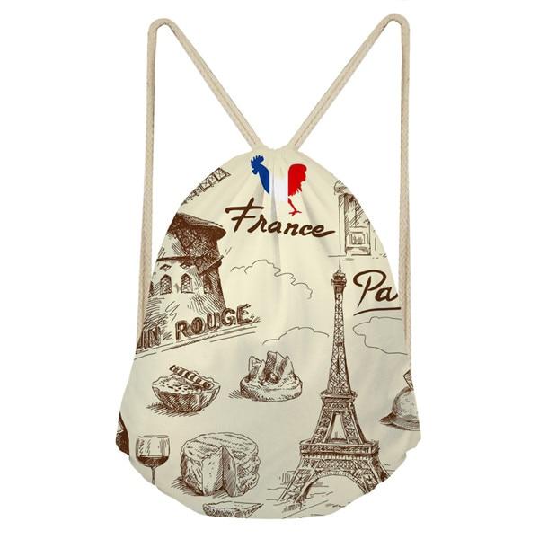 Noisydesigns Women's Paris Eiffel Tower Printed Mini Backpack Off White Bag School Girls Pocket Feminine Backpacks Shopper Bag