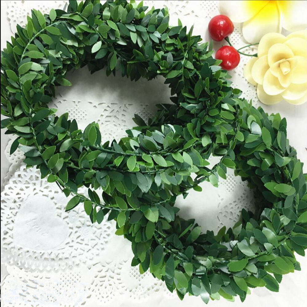 3.75M 150inch/pcs Silk Garland Green Leaf Iron Wire Artificial Flower Vine Rattan For Wedding Car Decoration DIY Wreath Flowers
