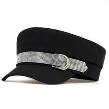 Простой Зимний берет с шляпа с пряжкой для женщин и мужчин Уличная мода стиль Newsboy шапки черные Плоские береты Топ Кепка s для мужчин Прямая поставка Кепка