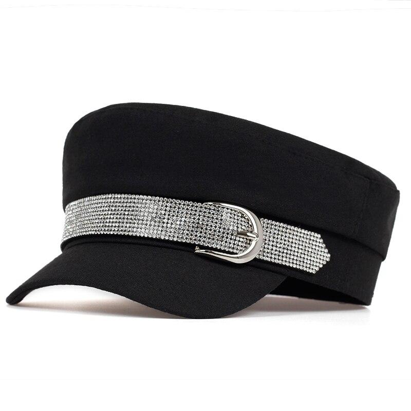 Simple Winter Beret With Buckle Hat Women Men Street Fashion Style Newsboy Hats Black Berets Flat Top Caps Men Drop Ship Cap