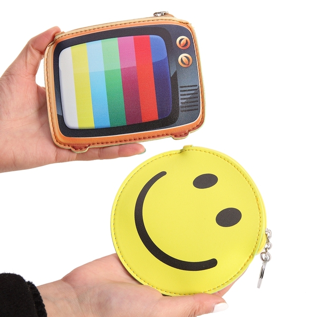 Bentoy Funny Leather Wallet Woman Fantasy Coin Purse Cute Camera Emoji TV Design Purse Girls Small Bag Key Ring Change Pouch