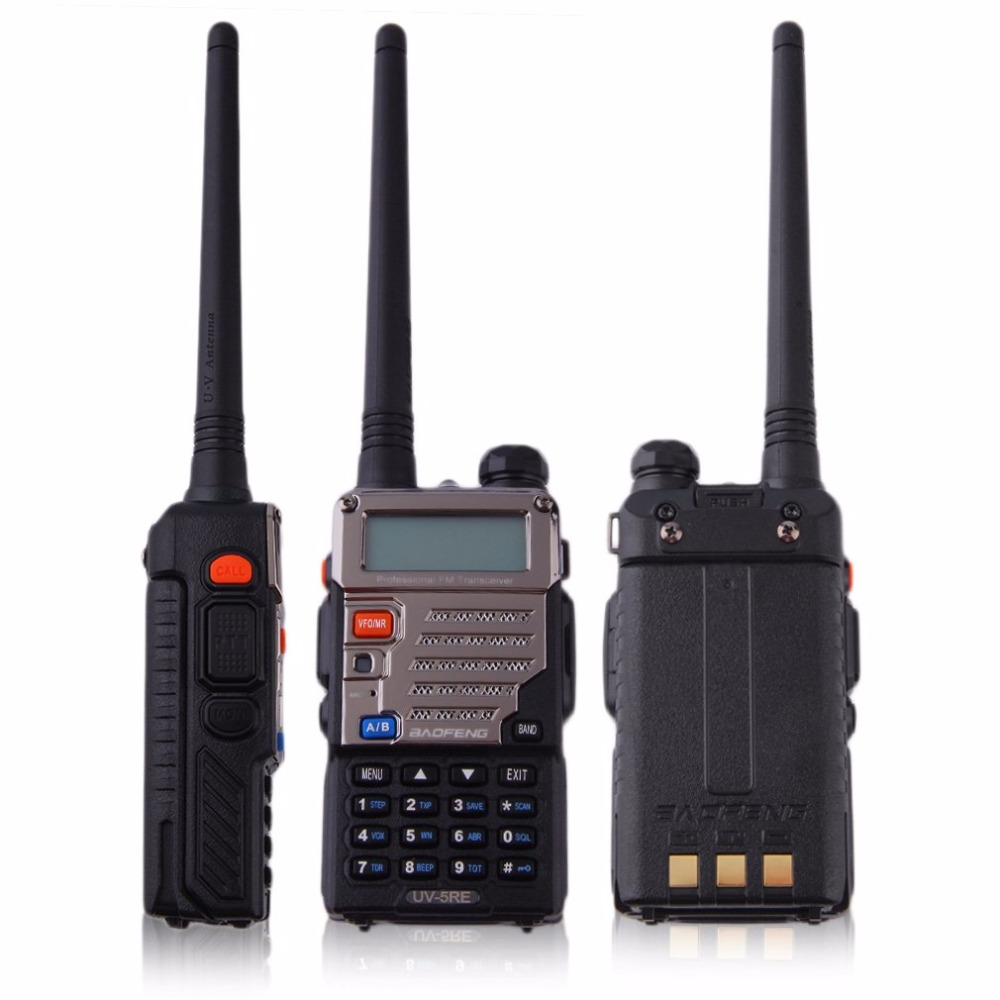 Newest BF-UV-5RE LCD Display Walkie Talkie 5W 128CH FM VOX DTMF Battery Saver Two-Way Radio US Adapter & EU Plug with Antenna