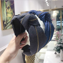 Fashion Denim Hairband Adult Wide Side Women Turban Big Bowknot Headband Wholesale Hair Hoop Accessories