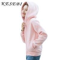Kesebi 2016 Autumn Winter Female Solid Color Hooded Loose Casual Hoodies Women Thick Warm Long Sleeve