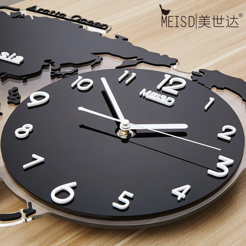 Grande carte du monde Luminova horloges murales Design moderne 3D numérique lueur dans l'obscurité horloge suspendue Ultra silencieux montre acrylique livraison gratuite - 4