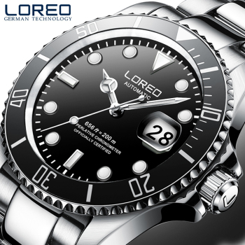 LOREO Diving Watch Men Fashion Business Watches Men's Casual Waterproof Quartz Wristwatch Stainless Steel Relogio Masculino