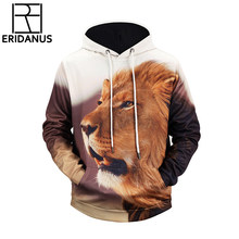 Hooded Hoodies 2018 New Brand 3D Fashion Autumn Lion Ancient Digital Printing Men/Women Cap Windbreaker Jacket Sweatshirts X637(China)